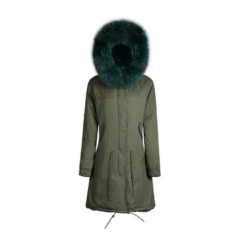 Raccoon Fur Collar Parka Jacket Emerald Green 3/4