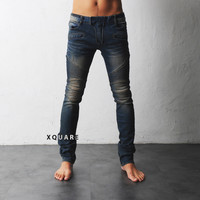 Oil Wash Stretch Skinny Biker Jeans