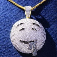 Men's Drooling Face Emoji Iced Out 14k Gold Finish Pendant