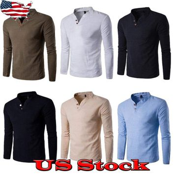 New Mens Henley Shirt T-shirts Shirts Long Sleeve Placket Pullover Comfy Button
