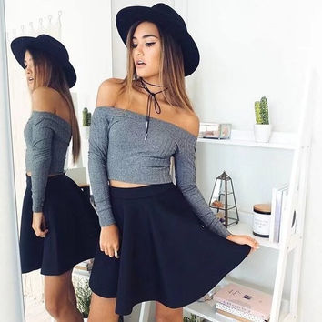 Simple Design Strapless Crop Top Slim Long Sleeve Tops T-shirts [11739459727]