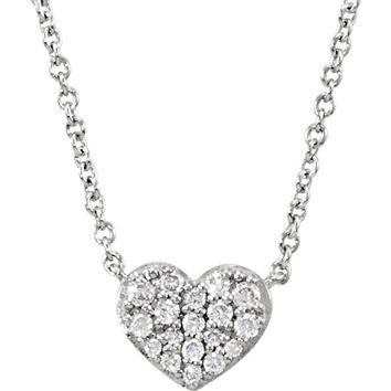 14 Karat White Gold Heart Shaped Diamond Necklace
