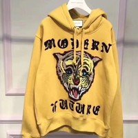 GUCCI Women/Men Angry Cat Embroidered Hooded Sweatshirt