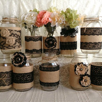 10x rustic burlap and black lace covered mason jar vases wedding decoration, bridal shower, engagement, anniversary party decor