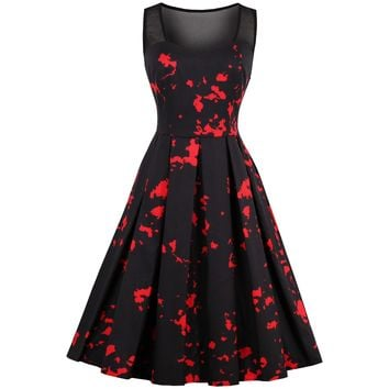 Rosetic Black and Red Print Round Neck A-line dress