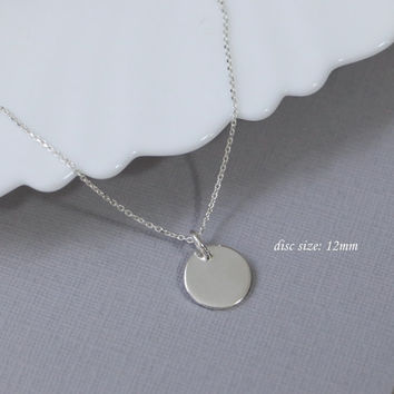 12mm Sterling Silver Circle Necklace, Sterling Silver Plain Disc Pendant on Sterling Silver Necklace Chain