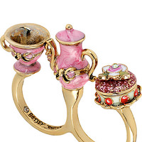 BetseyJohnson.com - PARIS TEAPOT CUP TWO FINGER RING PINK