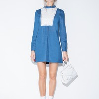 Francesca Denim Smock Dress with Daisy Bib Detail