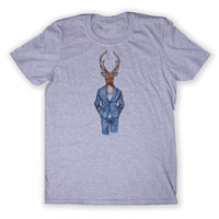 Hipster Stag Tee Deer Buck Animal Lover Tumblr Graphic T-shirt