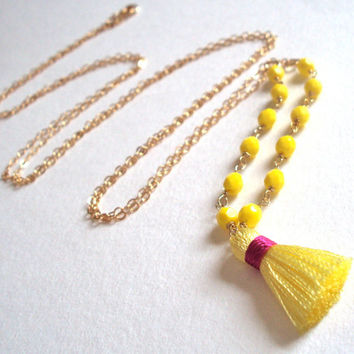 Long Yellow tassel necklace - beaded - gold filled chain - vintage style fringe pendant
