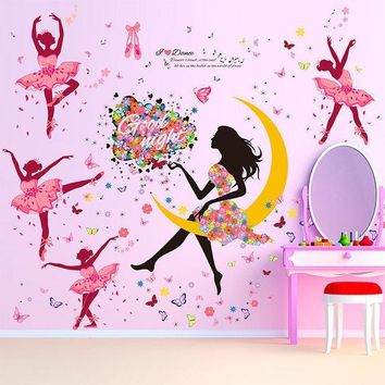 ESBWQA DIY Wall Sticker Butterfly Wall Decals Bicycle and lovely Ballet Girls Poster Stickers for Home Decor Decoration Free shipping
