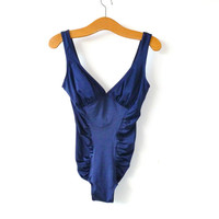 Vintage Swimsuit // Ruffled Navy Blue One Piece