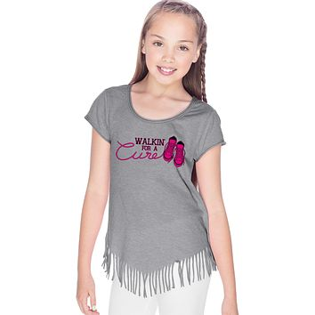 Girls Breast Cancer T-shirt Walking For a Cure Fringe Tee