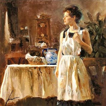 Sunday Chores - Limited Edition Giclee on Paper by Pino Daeni (1939-2010)