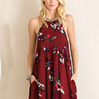 Stay A Little Longer Dress - Burgundy