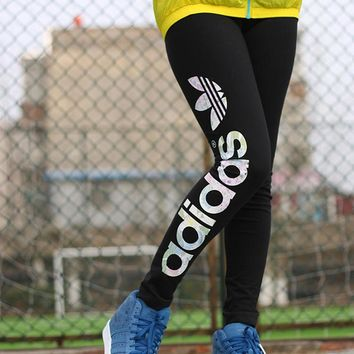 Adidas Women Multicolor Clover Letter Print Casual Tights Stretch Long Sweatpants