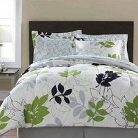 White, Green & Black Leaf Nature Queen Comforter Set (8 Piece Bed In A Bag)