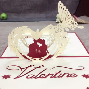 1pcs Sample 3D Laser Cut Paper Cutting Greeting Pop Up Kirigami Card Wedding Love Ivitation Custom Postcards Wishes Love Gifts