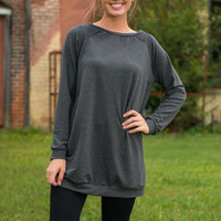 Warm Hands Warm Heart Tunic, Charcoal
