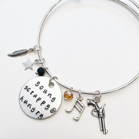 Young Scrappy and Hungry Alexander Hamilton the Musical Inspired Lyrics Hand Stamped Adjustable Bangle Charm Bracelet
