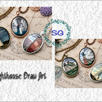 Lighthouses BuzSim Draw Art - - Digital Collage Sheets - 30x40mm Ovals for Jewelry Makers, Party Favors, Wedding Projects, Crafts