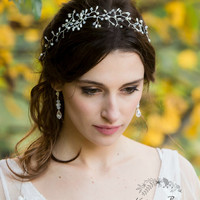 R1100 Nikki Bridal hair piece delicate crystal and pearl, hair vine, crown (option for gold on check out)
