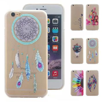 For Coque iPhone 6 Case Mandala Dream Catcher Elephant Feather Clear Hard Back Case For iPhone 6S Accessories 5C 5S 6 Plus Case