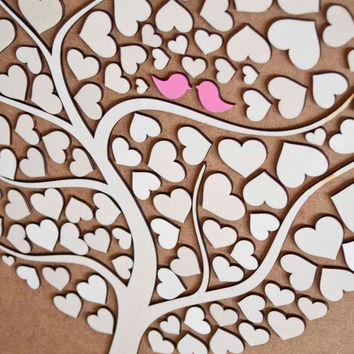 Custom wedding guest book alternative - 3D Wedding Tree guest book - wood rustic wedding guest book - Tree of Hearts - CUTIE POP 110 hearts