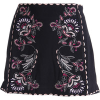 Juicy Couture Black Label Womens Rebel Romance Embroidered Crepe A-Line Skirt