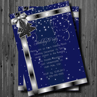 Printable Christmas Party Invitation-Christmas Tree-Holiday-New Years-Office Party-Silver and Blue-Hanukkah