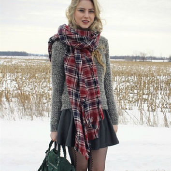 Winter Warm Plaid Soft Scarf [9572829391]