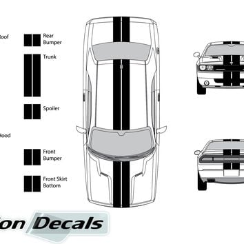 "Dodge Challenger 2010 Dual 8"" Rally Racing Stripes Vinyl Decal Kit"