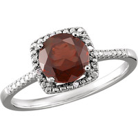 Sterling Silver Mozambique Garnet & .01 CTW Diamond Halo-Style Ring