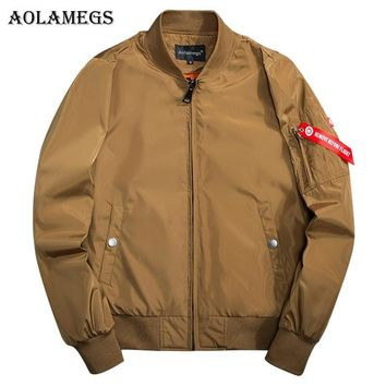 Trendy Aolamegs Men's Jacket Solid 7 Color MA-1 Thin Pilot Bomber Jacket Men Hip Hop Fashion Outwear Men Coat Bomb Baseball Jackets AT_94_13