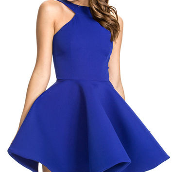 Sleeveless Halter A-Line Mini Skater Dress