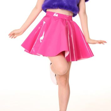 Glitters For Dinner — Made To Order - Hot Pink PVC Skater Skirt