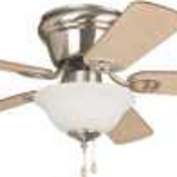 Wyman 42 In. Hugger Mount Ceiling Fan With Bowl Light, Brushed Nickel With Ash Or Walnut Reversible Blades