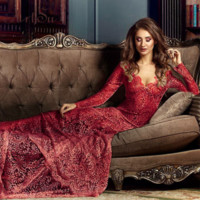 Eyelash Full Lace Plunge Long Train Party Prom Gown Dress Long Sleeve 4 Colors