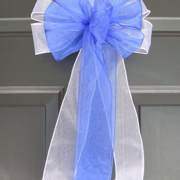 Set of 10 Royal Blue over White Sheer Bows, Pew Wedding Bridal, Baby Girl New Mom Shower, Aisle Church Ceremony, Floral, Shabby Chic