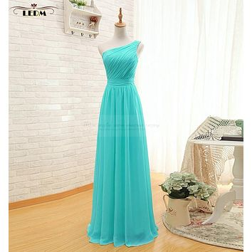 robe demoiselle d'honneur 2017 new chiffon one shoulder A Line turquoise bridesmaid dresses long plus size vestido madrinha