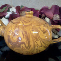Antique Gold Swirl Enamel Ware Tea Pot