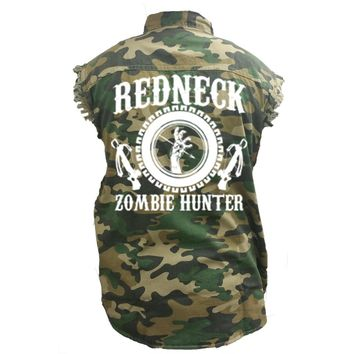 Men's Camo Sleeveless Denim Shirt Redneck Zombie Hunter Denim Vest