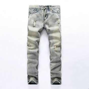 Mens Denim Jeans Mid Weight Straight Slim Fit Male Scratched Jeans Pants Casual Business Mens Hole Streetwear Jeans
