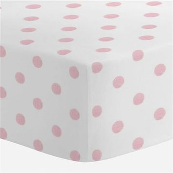 White and Pink Polka Dot Crib Sheet