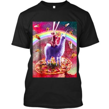 Laser Eyes Outer Space Cat Riding On Llama Unicorn  Custom Ultra Cotton