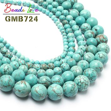 """Hot Sale15.5"""" Natural Turquoises Stone Round Beads For Jewelry Making 6 8 10 12 14mm Spacer Beads Pick Size Free Shipping F00041"""
