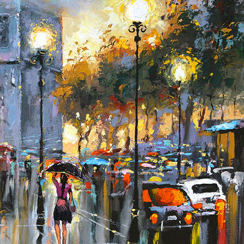 "Evenings  in paris1 - Dmitry Spiros, Paris oil painting, wall art, wall decor, wall art decor, home decor, Size: 70cm x 100cm, 28"" x 40"""