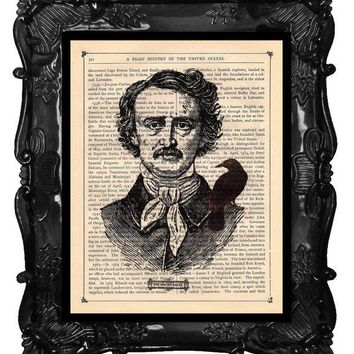 Edgar Allan Poe and His Raven Dictionary Print by BlackBaroque