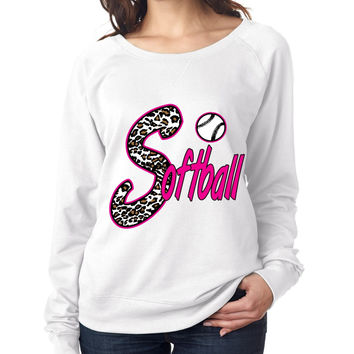 Softball White Leopard cheetah women`s long sleeve Pullover