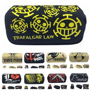 Cool Attack on Titan Cartoon toy Deadpool/Totoro/One piece Lufy /Naruto/Fairy tail// Pencil Bag Canvas Zipper Pencil Bag Anime gift AT_90_11